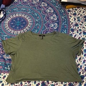 Forever 21 army green crop tee